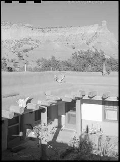 Georgia O'Keeffe residence, Abiquiu, NM, ca. 1940, by John Candelario. Palace of the Governors Photo Archives 165657.