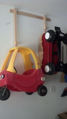 Garage Storage Solutions workbenches and garage organization bikes. Garage Storage S Garage Organization Bikes, Garage Storage Solutions, Diy Garage Storage, Toy Organization, Storage Ideas, Kitchen Storage, Outdoor Toy Storage, Kid Toy Storage, Outdoor Toys