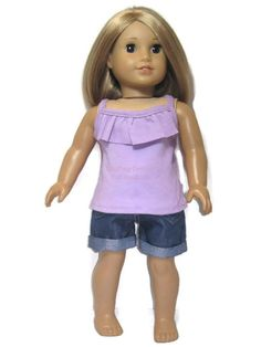 """Lavender Ruffle Tank Top & Denim Shorts Made for 18"""" American Girl Doll Clothes #Unbranded"""