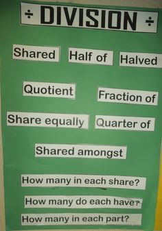 4A - We use these words to communicate our understanding about division.