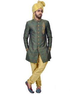 Green Silk Readymade Indo Western Suit 112366