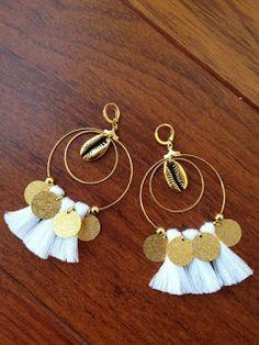 Hoop earrings Jewelry Design Earrings, Tassel Jewelry, Fabric Jewelry, Cute Earrings, Beaded Jewelry, Jewelery, Jewelry Accessories, Tassel Earrings, Gold Earrings
