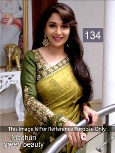 Madhuri Dixit Bhagalpuri Silk Border Work Green Bollywood Style Saree - 134 In Stock: Rs 1,449