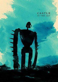 Castle in the Sky watercolour silhouette