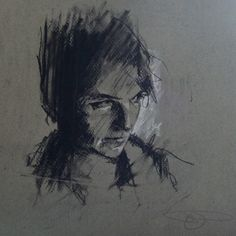 Guy Denning / 'Luke Denning'  conte and chalk on paper  21 x 21 cm  30th November 2010