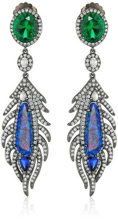 Feather-shape drop earring featuring green faceted round at post and blue faux-gemstones framed in pave-set cubic zirconia. Beautiful earring and unique shape.   -> https://www.amazon.com/CZ-Kenneth-Jay-Lane-Multi-Cubic/dp/B00MXPUPS2/ref=as_li_ss_tl?ie=UTF8&linkCode=ll1&tag=wernet0f-20&linkId=60bb90858f1f9e1476eabf583b408d9b