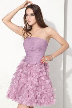 Lovely A-Line Strapless Knee Length Organza Purple Cocktail Dress COUM13001 #cocomelody