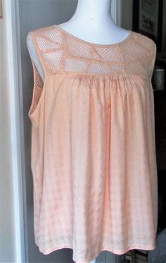 Lucky Brand Peach Open Weave Top Patterned Fabric Sleeveless Large Top Lined #LuckyBrand #Sleevelesslinedtop #Casual