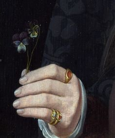 Follower of Jan van Scorel - A Man with a Pansy and a Skull, detail