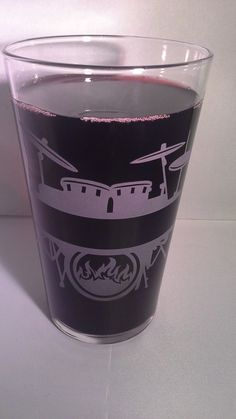 Sandblasted Pint Glass with Drum Kit and space for NAME to be inserted.