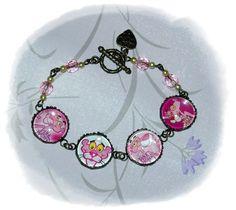 PINK PANTHER Cabochon Bronze Bracelet by MySecretGardenHK on Etsy