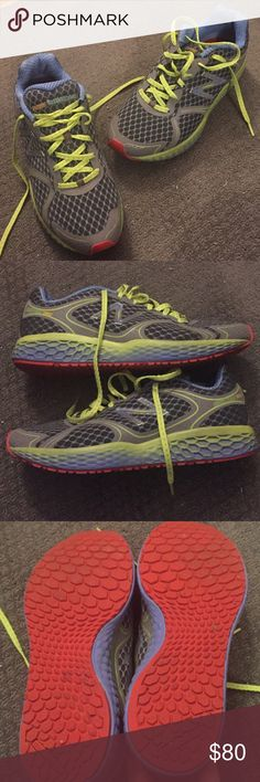 Excellent condition New Balance! Cush technology New Balance sneakers in fun fluorescent colors! These are in GREAT shape - only worn 2-3 times. Grey, red, and yellow - super comfortable! These are awesome running shoes! •Bundle up and save! 🛍 •Reasonable offers are welcomed! 💲 •All items from a smoke-free home. 🚭 •More pictures available upon request! 📸 •Thanks for looking! ☮💙☺️ New Balance Shoes Sneakers