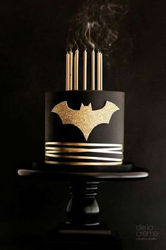 A sophisticated homage to the caped crusader in elegant gold and black.