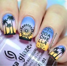 Beautiful ferris wheel sundown nail design art