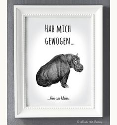 Typo/Druck Hab mich gewogen...bin zu klein // poster/print i weighed myself...I'm too short via DaWanda.com
