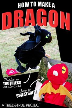 [orginial_title] – Kelly Leeds Billings How To Make a Dragon Costume From a Sweatsuit! You're going to love how easy it is to make a dragon costume from a sweatsuit! Perfect if your kid loves Toothless from How To Train Your Dragon! Halloween 2014, Holidays Halloween, Halloween Costumes For Kids, Diy Costumes, Halloween Crafts, Halloween Zombie, Halloween Ideas, Costume Ideas, Toothless Costume