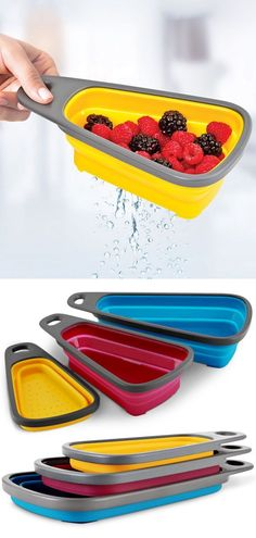 Collapsible Nesting Colander Set // by catalina - Davila Bourgade - Cool Kitchen Gadgets, Home Gadgets, Cooking Gadgets, Gadgets And Gizmos, Cooking Tools, Kitchen Hacks, Cool Kitchens, Office Gadgets, Geek Gadgets