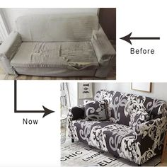 Look!How to make your sofa look new(Suitable L-style sofa).Simply Renew Your SofaDo not waste money to buy a new sofa. Just use our sofa cover it will be a new look.Suitable for GAP sofa If the distance of the red line . New Furniture, Furniture Makeover, Outdoor Furniture, Home Living Room, Living Room Decor, Old Sofa, Couch Covers, Armchair Covers, Pillow Covers