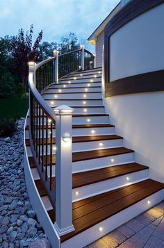 For both safety and aesthetics, installing lights in between stair steps is an excellent idea.