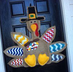 Turkey door hanger  burlap- chevron- fall door hanger-