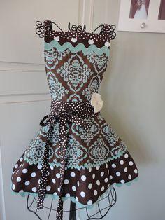 4RetroSisters Annabelle Womens Apron - Polka Dot Chocolate and Aqua Ble -