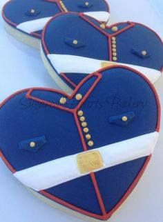 Adorable Marine Corps sugar cookies uses our heart cookie cutter would be great for a military wedding.
