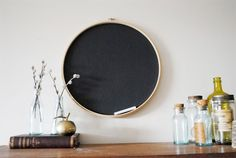 embroidery chalk board (this post has 25 ways to decorate with embroidery hoops)