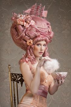 "Plenty of Pink Pouf Power! ""Marie Antoinette   Styling for make up school - Yossi Biton"" Stare worthy rating: 6 eyeballs: straight to my hairdresser to copy this!"
