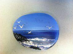 Hand Painted on A Rock Seagulls Ocean View Cliffs Waves Whitecaps Art Rock