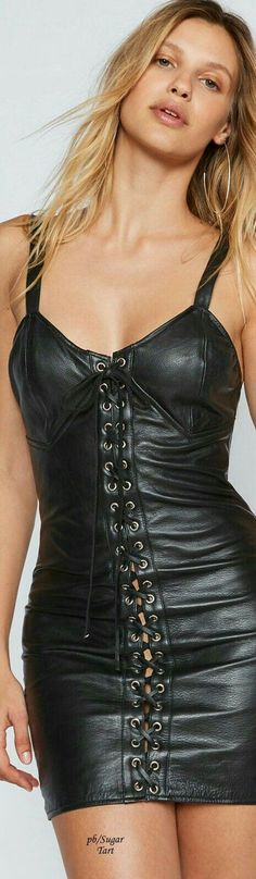 Black leather front laced corset minidress
