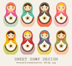 Matryoshka Russian Doll Clip Art, Nesting Dolls Clip Art, Royalty Free Clip Art, Instant Download by SweetShopDesign, $4.95