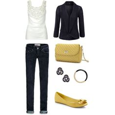 A touch of yellow, created by blushinginside.polyvore.com