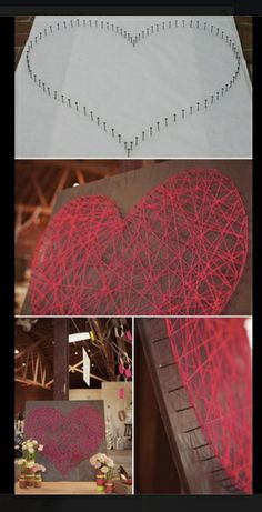 Easy string art for homes diy projects craft ideas & how to's for home decor with videos Valentinstag Party, Diy Simple, Easy Diy, Diy Presents, Diy Gifts, String Art Diy, Nail String, Cuadros Diy, Deco Cool