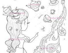 Coloring Page, Digital stamp, Digi, Tea, Cake, Cup, Teapot, Girl, Fantasy, Whimsical, Crafting, Cardmaking.  The Princess of Tea