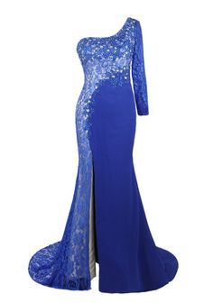 46793df4d8 Luxury Blue Chiffon Lace Appliques Beaded Evening Dresses Vestido De Festa  One Long Sleeves Gown