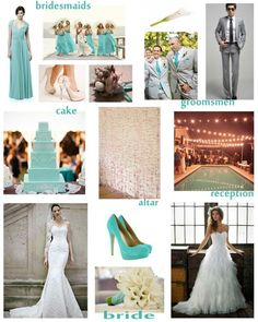 ivory and pale turquoise wedding theme
