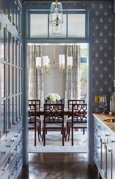 Tim Barber Ltd. - fabulous blue butler's pantry looking into the gorgeous dining room