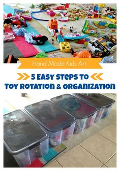Toy Rotation and Organization - my kids might be a bit old for this, but it could be a good start to cleaning up and purging the toys. Toddler Play, Toddler Activities, Baby Toys, Kids Toys, Playroom Organization, Organization Ideas, Storage Ideas, Organizing Tips, Organising