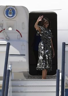Pin for Later: Michelle Obama Left Spain in a Travel Dress You Won't Forget