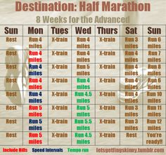 letsgetfingskinny:    My personal 8-week routine to get in shape for a half-marathon, for more advanced runners. I put the rest day on Sunday so I can go to church, but you can rotate it to put the rest day on any day you want.