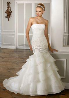 a-line/princess kapel tog organza satin stropløs brudekjoler