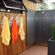 Modern Cottage Prefab Love the outdoor shower. We had one when I was tiny at Pajaro Dunes, and we lo Outdoor Shower Kits, Outdoor Shower Enclosure, Outdoor Showers, Pool Shower, Tin Shower, Beach Shower, Rustic Shower, Large Shower, Outdoor Bathrooms