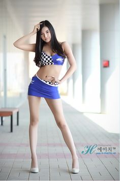 """Hot Korean Race-Queen, Han Song.   She kinda' makes you want to """"win"""" that checkered flag she's wearing,eh?"""