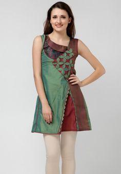 Sleeve Less Embellished Green Kurti by 18 Fire - jabongworld.com