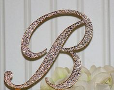 "5"" Monogram GOLD Wedding Cake Topper Initial in any letter A B C D E F G H I J K L M N O P Q R S T U V W X Y Z"