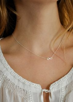 Tiny Diamond Infinity Bow Necklace by maldemer on Etsy, $25.00