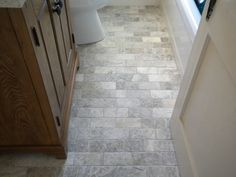 "Travertine Bathroom Floor the cottage bathroom floor is 1""x2' silver travertine from stone"