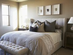 Guest Room- white coverlet, linen headboard, tufted headboard, tufted wing headboard, tufted bench, tufted linen bench, bench at foot of bed, bench at end of bed, cappuccino colored duvet, duvet with lace patterned border, sophisticated bedroom,tufted wingback bed, Alice Lane Home - bedrooms -