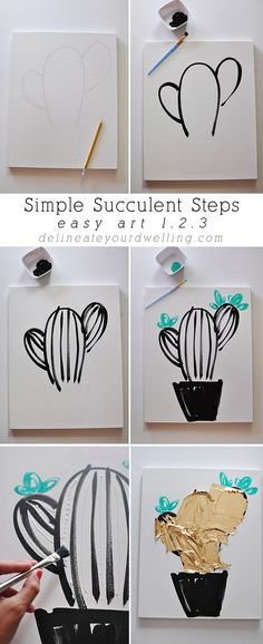 Easy Art in 1.2.3 : How to paint Simple Succulent and Cacti art work for your home! Delineate Your Dwelling