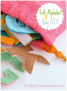 bag alphabet and drawstring bag DIY